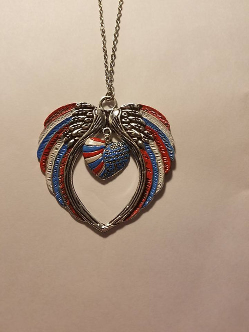 flags heart necklace
