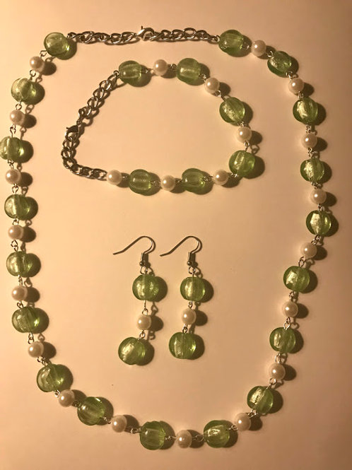 light green necklace earring and bracelet