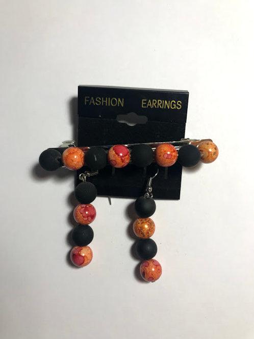 black orange barrettes set