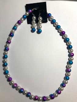 purple blue necklace set
