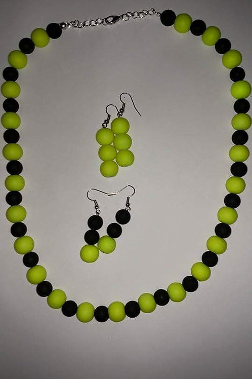 neon yellow & black  necklace