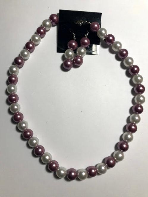 purple white necklace set