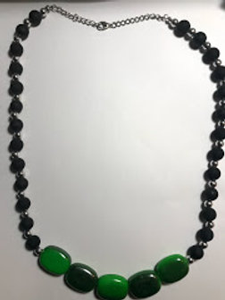 silver black green  necklace