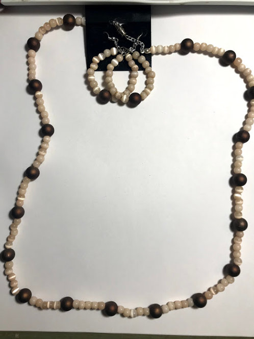 brown shell necklace set