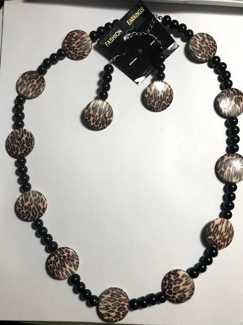 leopard print  necklace set