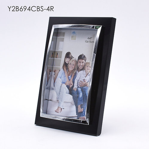 Y2B694CBS - 3D metal frame, Black finish with shining chrome protrude.