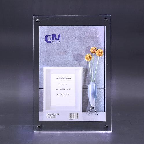Acrylic frame, sandwich frame, 2 layer acrylic frame, high  quality acrylic, tabletop acrylic frame, A4 certificate frame