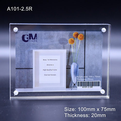 Acrylic block frame, 2R acrylic frame, thick acrylic frame, magnetic frame, sandwich frame, high quality frame, clear acrylic
