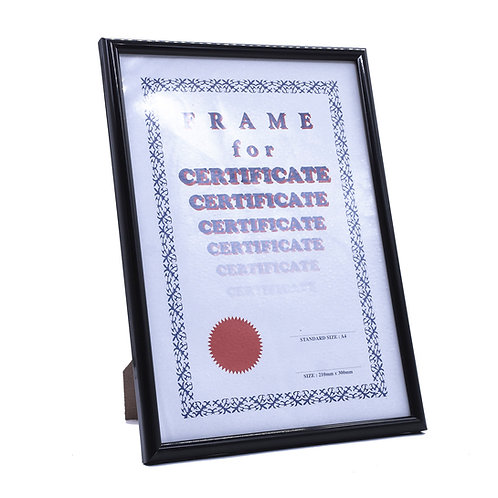 Simple black wooden frame. A4 certificate, include clear glass, backing with stand and hook. GM product. Award presentation