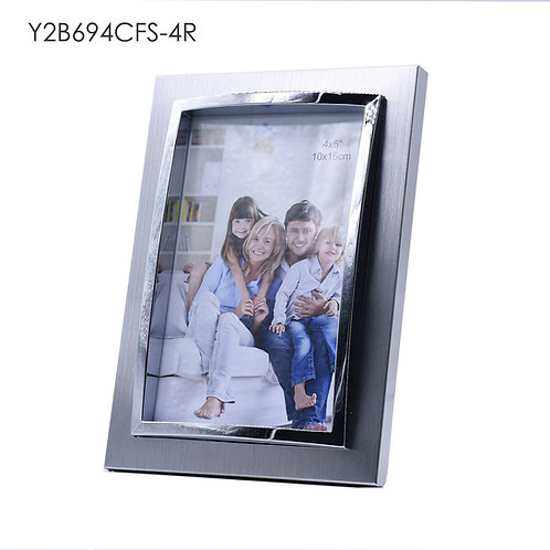 Y2B694CFS - 3D metal frame, Silver finish with shining chrome protrude.