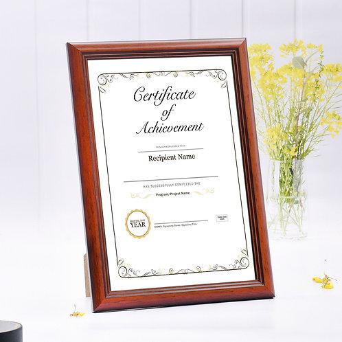wood colour frame, certificate frame,  photo frame, A4  picture frame, GM frame, award frame, wooden frame, Goodrich