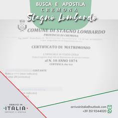 Estratto di Nascita e Matrimonio | Comune di Stagno Lombardo-Prov.Cremona