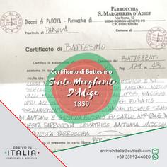 Certificato di Battesimo e Matrimonio | Santa Margherita D'Agide-Prov.Padova