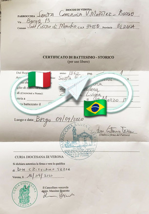 Certificato di Battesimo | Parrocchia San Pietro di Morubio - Prov. Verona.