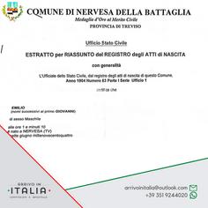 Estratto di Nascita | Comune di Nervesa della Battaglia-Prov. Treviso
