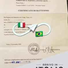 Certificato di Battesimo   Parrocchia di Ferno - Prov. Varese