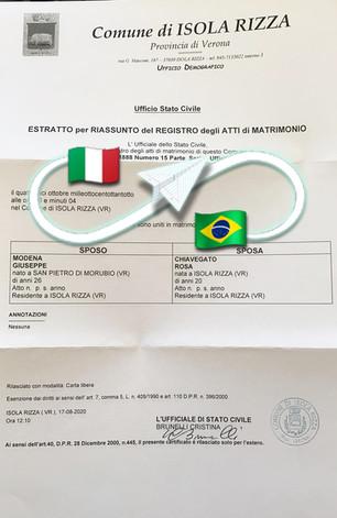 Certificato di Matrimonio | Comune Isola Rizza - Prov.Verona