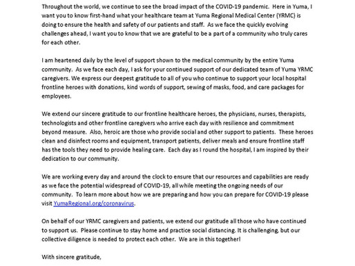 Letter to the Community from YRMC