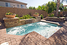 spool pool with water feature