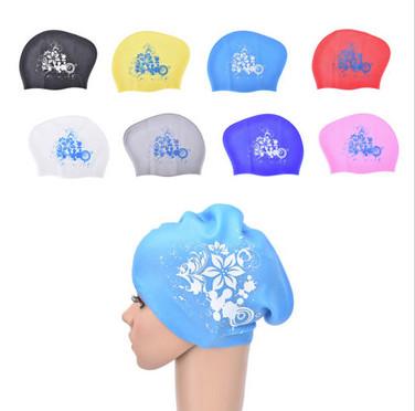 Women Silicone Long Hair Waterproof Swimming Cap & Ear Plug