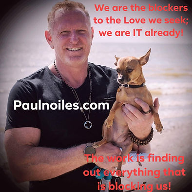 """Picture of me holding my little dog with the quote """" We are the blockers to the Love we seek."""