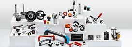 Normdeler; Låsespaker, maskinratt, håndtak, hjul, trinser, maskinkomponenter, hengsler, nivåglass, hydraulikk komponenter