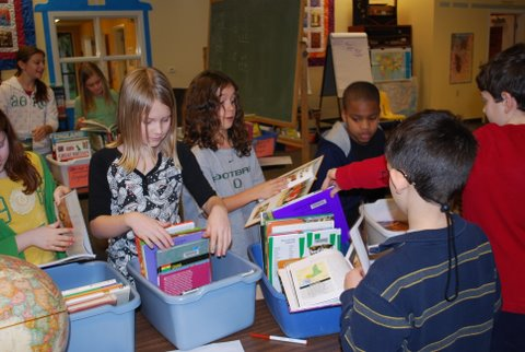 Students select books for individual study topics