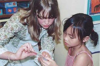Kellie helping Sophie