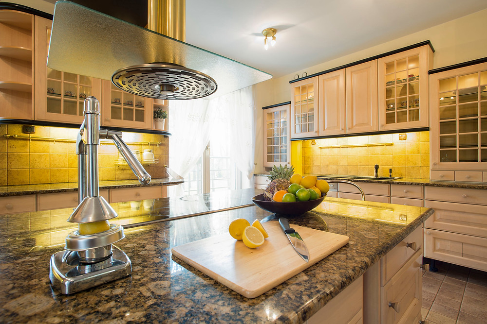 modern kitchen countertop eco-friendly with fruit and cutting board