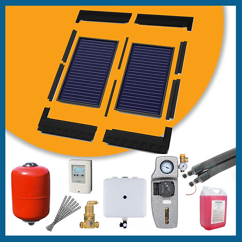 2x Flat Plate In Roof Complete Solar Thermal Kit