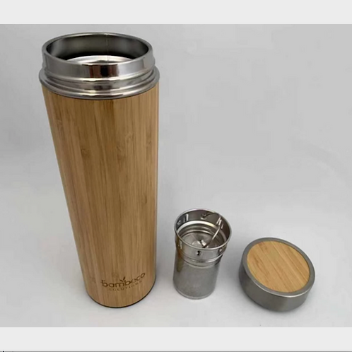 Natural Bamboo Thermos Flask with Tea Infuser