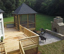 New Deck, Screen Porch, Patio, Stone, Pavers, Outdoor Fireplace, Exterior Improvement, Home Improvement, Outdoor Entertaining Area