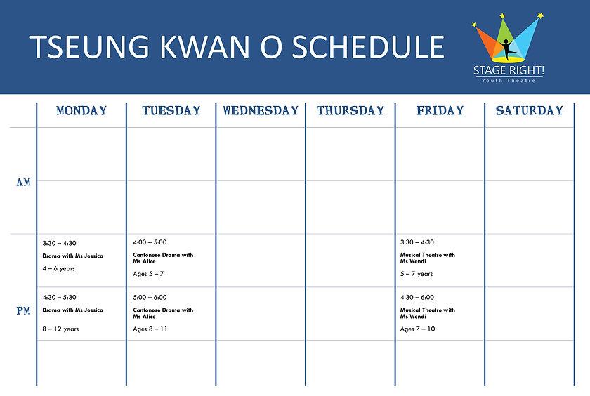 Tseung Kwan O Schedule