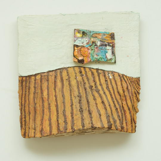 Painting on a Wall (The Elder), oil on wood, approximately 24'' x 23'' x 9'', 2009.
