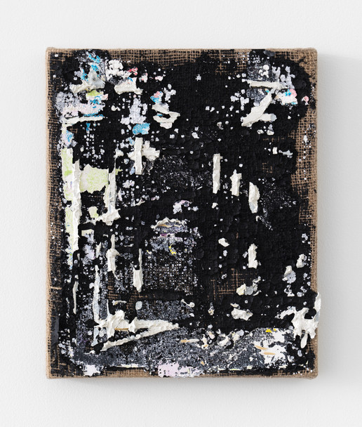 Erased Giordano Drawing, 2021, black gesso and oil on burlap, 12 x 10 inches (30.48 x 25.4 cm)