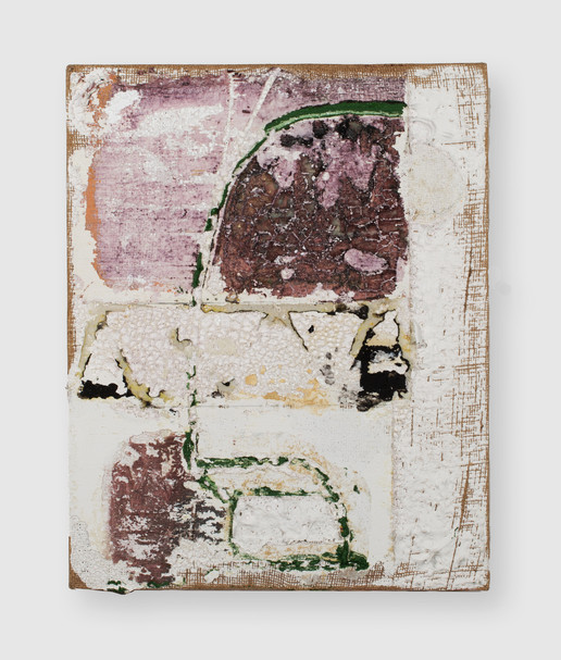 Here to Go (SMN Post Flood), 2021, oil, acrylic, gesso and insulation foam on burlap, 20 x 16 inches (50.8 x 40.64 cm)