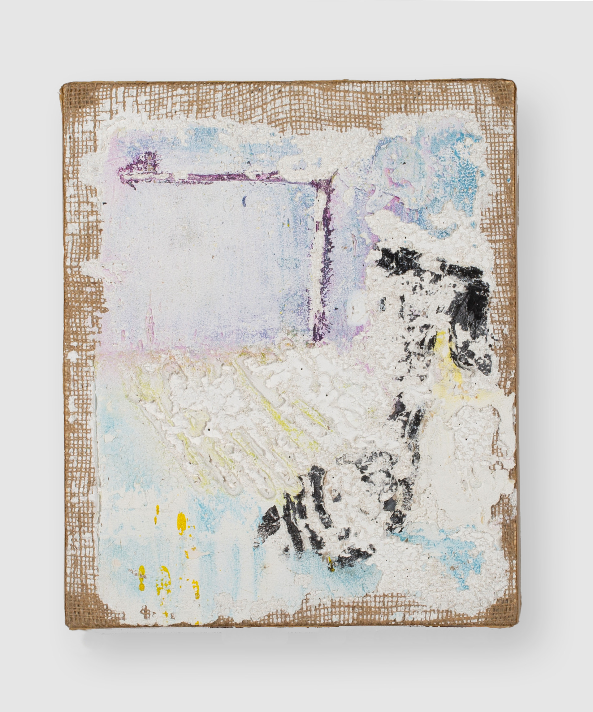 Loci II (Memory Room with Ghost), 2021, oil, acrylic, gesso and marble dust on burlap, 12 x 10 inches (30.48 x 25.4 cm)