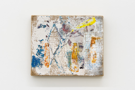 Tree Cutter (Small Pruner), 2021, oil, acrylic, gesso, and digital image transfer on burlap, 10 x 12 inches (40.64 x 50.8 cm)