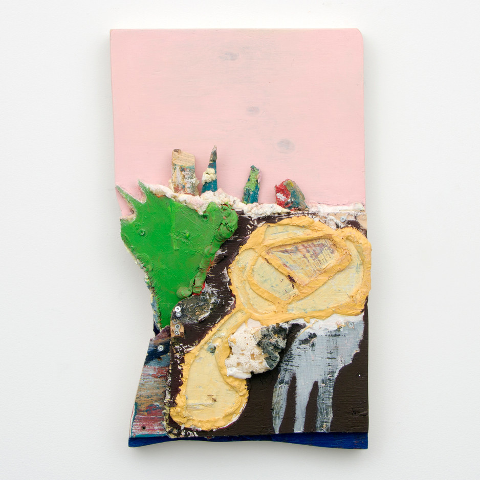 "Elementals, Oil and insulation foam on board, 23¼ x 14 x 4¼"", 2014."