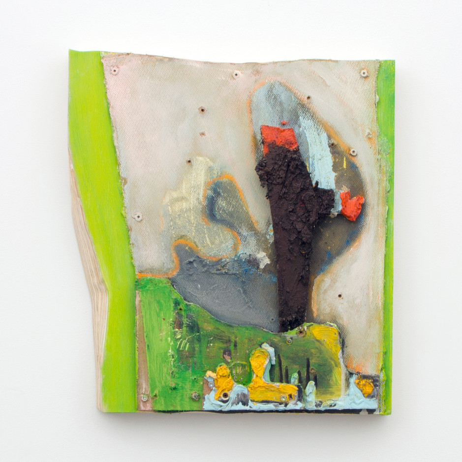 "Mutable Dirt with Sticks, Oil on board and masonite, 18¼ x 16½ x 2½"", 2014."