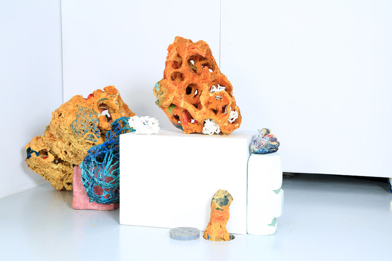 FRNKS Other Lung with WBCs, Spleen, Galstone, Thrid Digit of Thumb, and diaphram, studio debris (insulation foam, polystyrene, latex, borax), dimensions vary, 2008-2018 (ongoing).