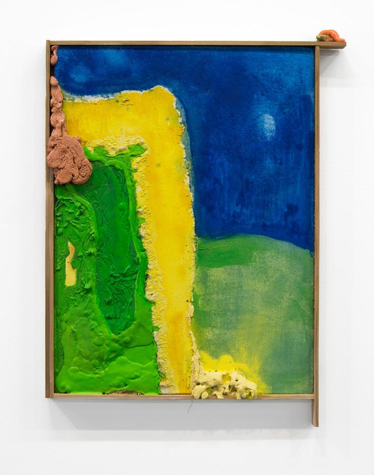 "Telluric, Oil, laytex, and plasticisine on canvas over board, artist's frame, 18 x 24"", 2016."