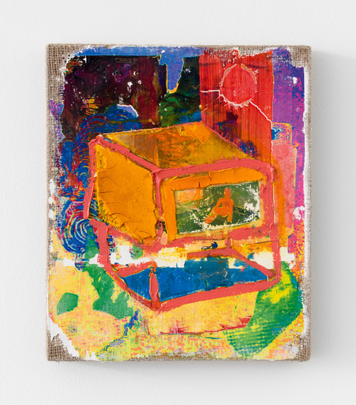 Digital Bath (Mineral Bath Redux) 2020, image transfer, acrylic, and oil on burlap, 12 x 10 inches (30.48 x 25.4 cm)