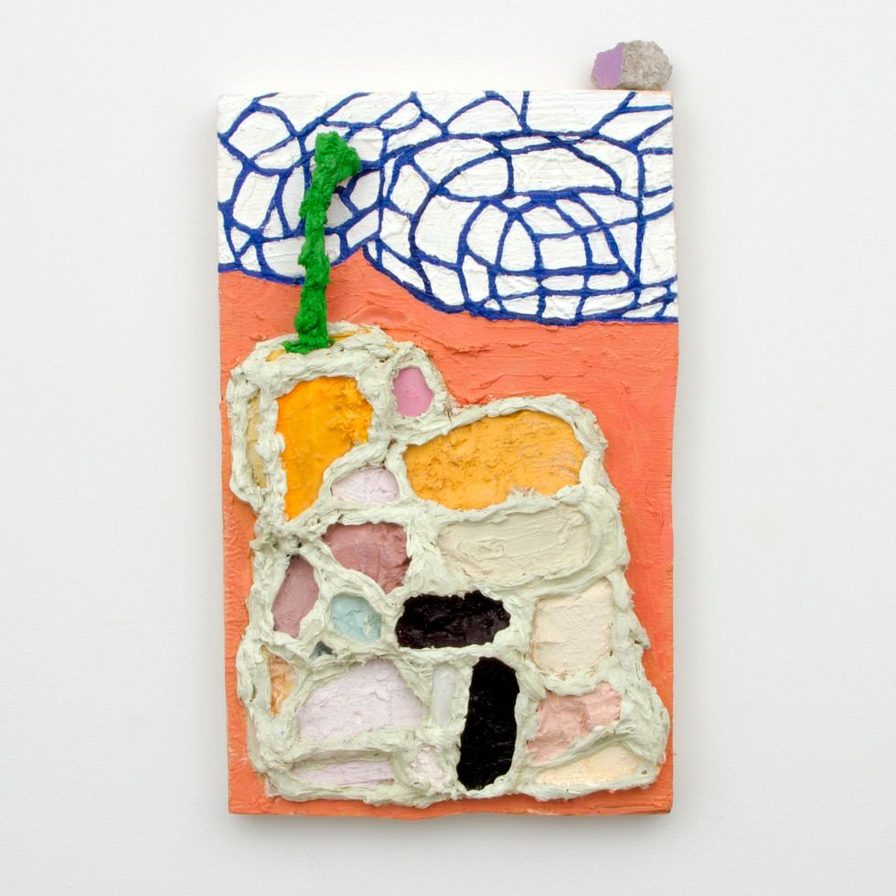 "Dee was Squeezed, Oil, silicone, marble dust, and insulation foam on board with found rock, 23 x 14¼ x 3¼"", 2014."