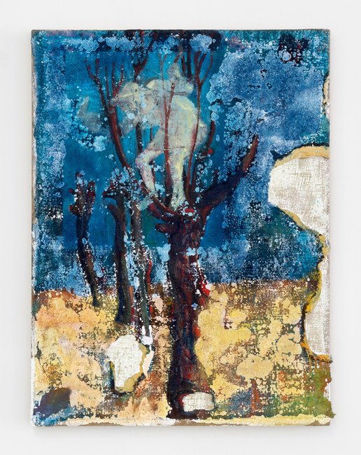 Schifanoia Tree Cutters (Pruners) III, 2021, oil and acrylic on burlap, 45 x 34 inches (114  x 86 cm)