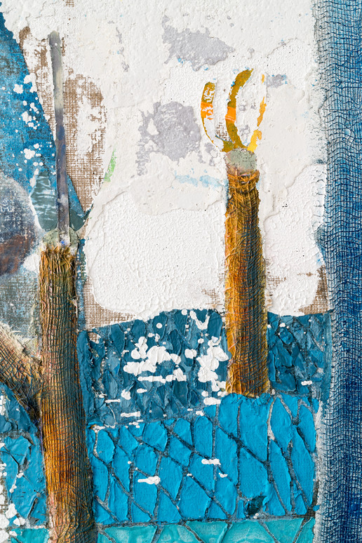 Tree Cutter (Grafter) (detail), 2021, oil, acrylic and latex on burlap, 45 x 54 inches (114.3 x 137.16 cm)