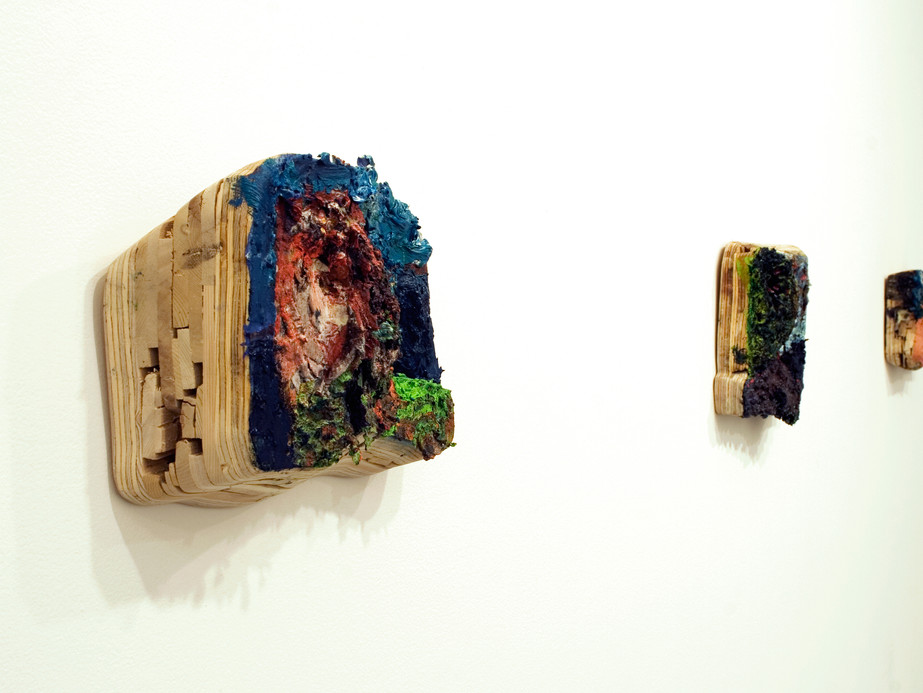 Day and Night Number 1, Number 3, and Number 5 (installation view), Oil on wood, dimensions vary, 2012.