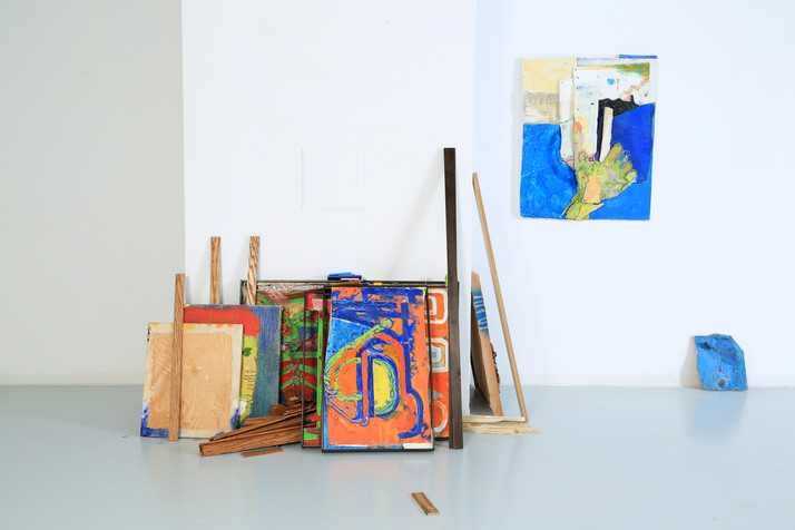 SYZYGY (Studio Test), paintings, found objects and studio debris, dimesions var.y, 2018.