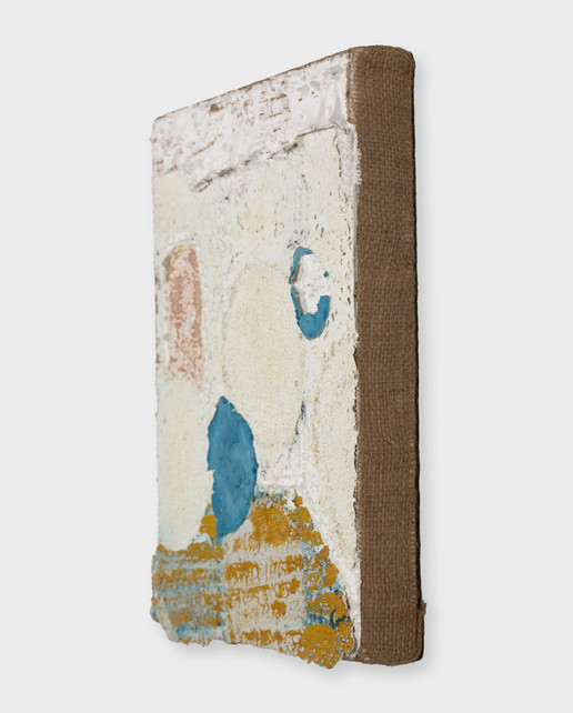 Loci (Memory Room) (detail), 2021, oil, acrylic, gesso and marble dust on burlap, 12 x 10 inches (30.48 x 25.4 cm)