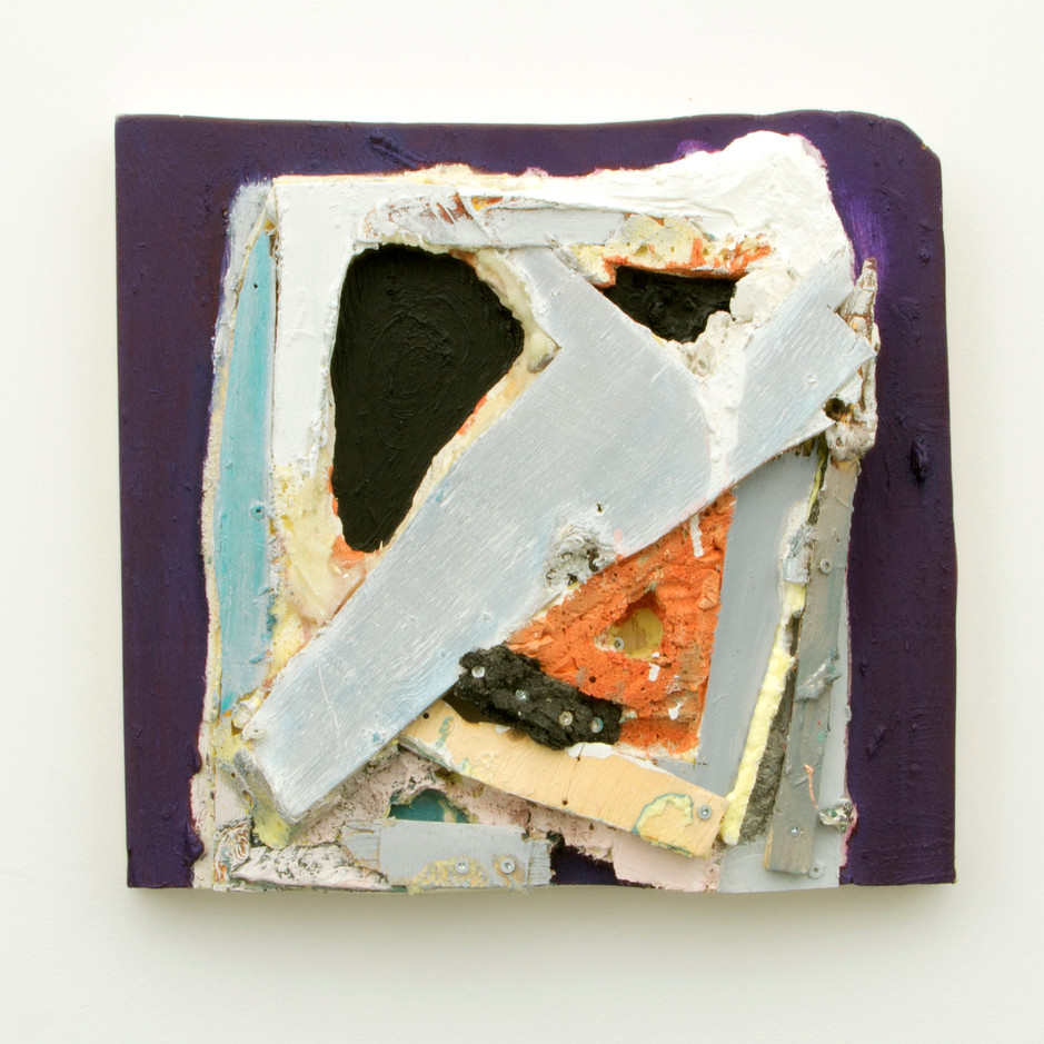 """Sing into My Mouth, Oil, encaustic, bees wax, and insulation foam on board, 16¼ x 17¾ x 4¼"""", 2014."""